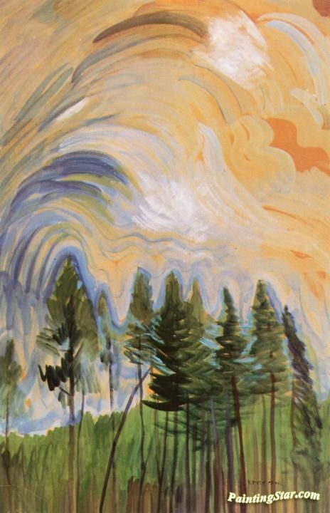 Young Pines and Sky Artwork by Emily Carr Hand-painted and Art Prints on canvas for sale,you can custom the size and frame