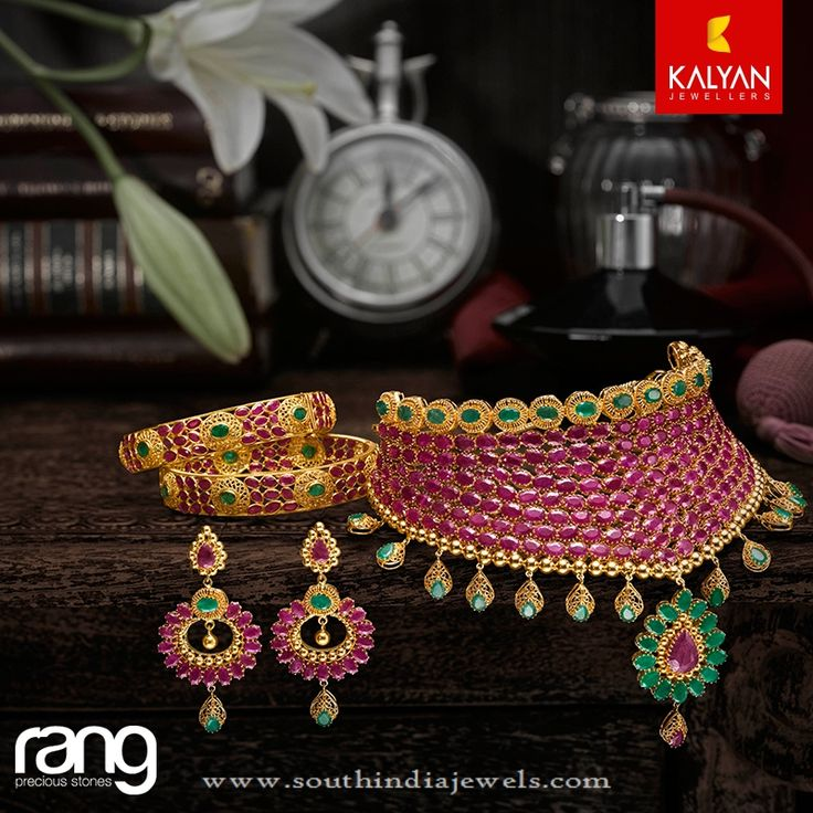Bridal Jewellery Sets from Kalyan Jewellers, Bridal Jewellery Designs, Ruby Bridal Jewellery Designs from Kalyan.