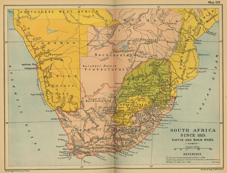 Map of South Africa since 1815: The Kaffir and Boer Wars