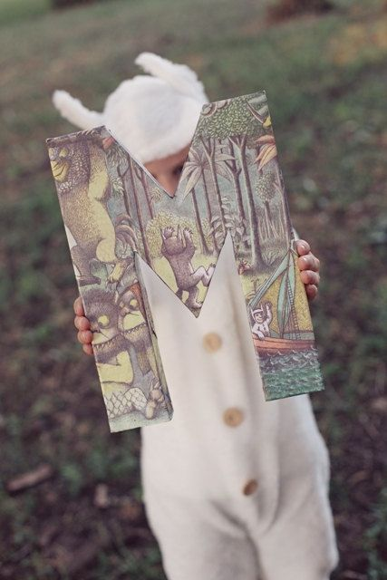 Modge Podge a book onto a letter Where the Wild Things Are Monogram by DesignsbyPurcell on Etsy, $19.00