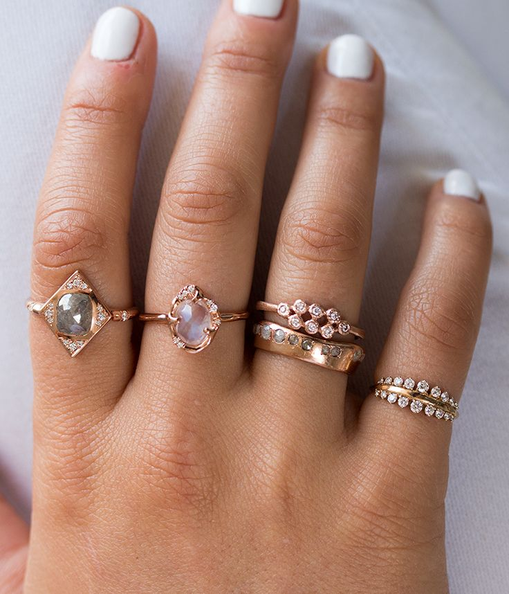 Pink 8 Stacked Bezel Ring - Audry Rose