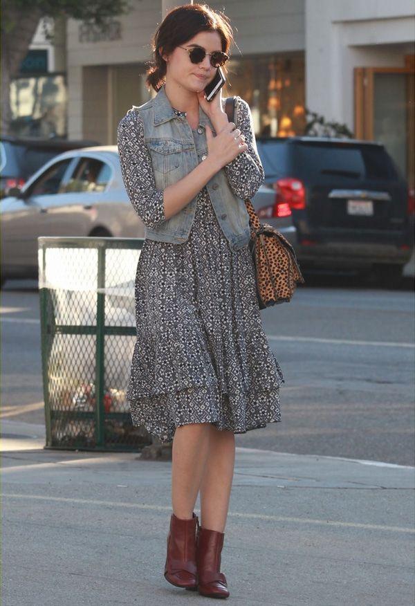 lucy hale look vestido street style