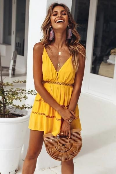 937be6a420 Summer Hollowed Lace Sling Beach Dress | Vacation Outfits in 2019 ...