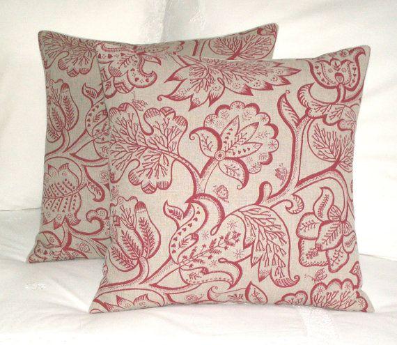 """Celia Birtwell - coussin / jeter les coussins/couverture - jacobéen Rose rouge - coeurs et papillons - toile de lin de la Designer UK - 18 x 18"""""""
