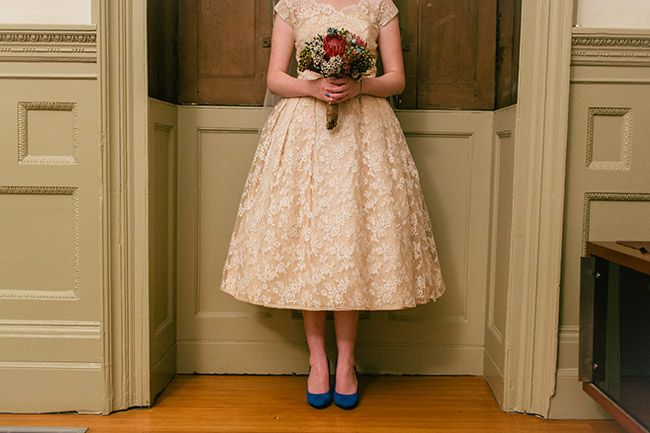 Vintage Bride ~ Jacinta & Jacks Shotgun-Chic Vintage Wedding ~ Thomas Stewart Photography ~[vintagebridemag.com.au] ~ #vintagebride #blueshoes