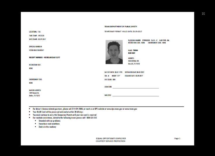 Texas Temp Driver's Permit, Template, Printable, Temporary ...