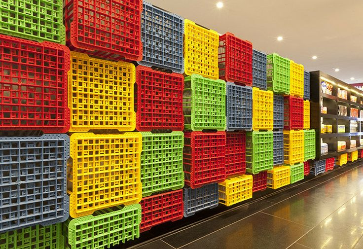 Crates used as decoration for Sushizilla's restaurant in Sydney #Crates, #RepurposedCrates, #Sushi