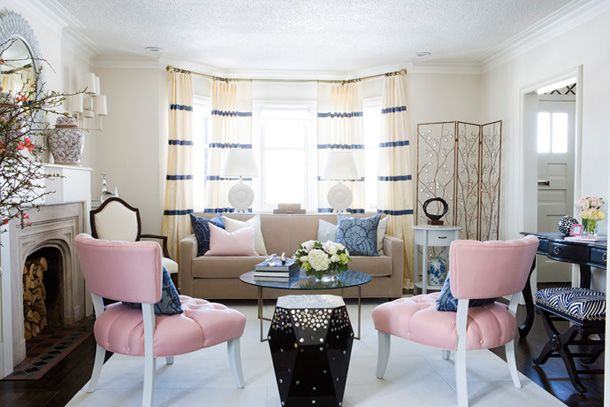 Pale pink chairs blue striped curtains gilded mint living pinterest chic living room - Blue and pink living room ideas ...