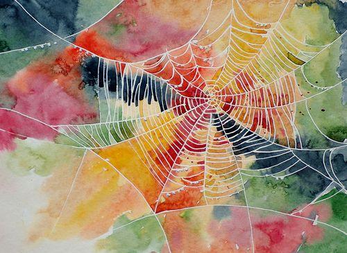Hämähäkin verkko (vesivärit)