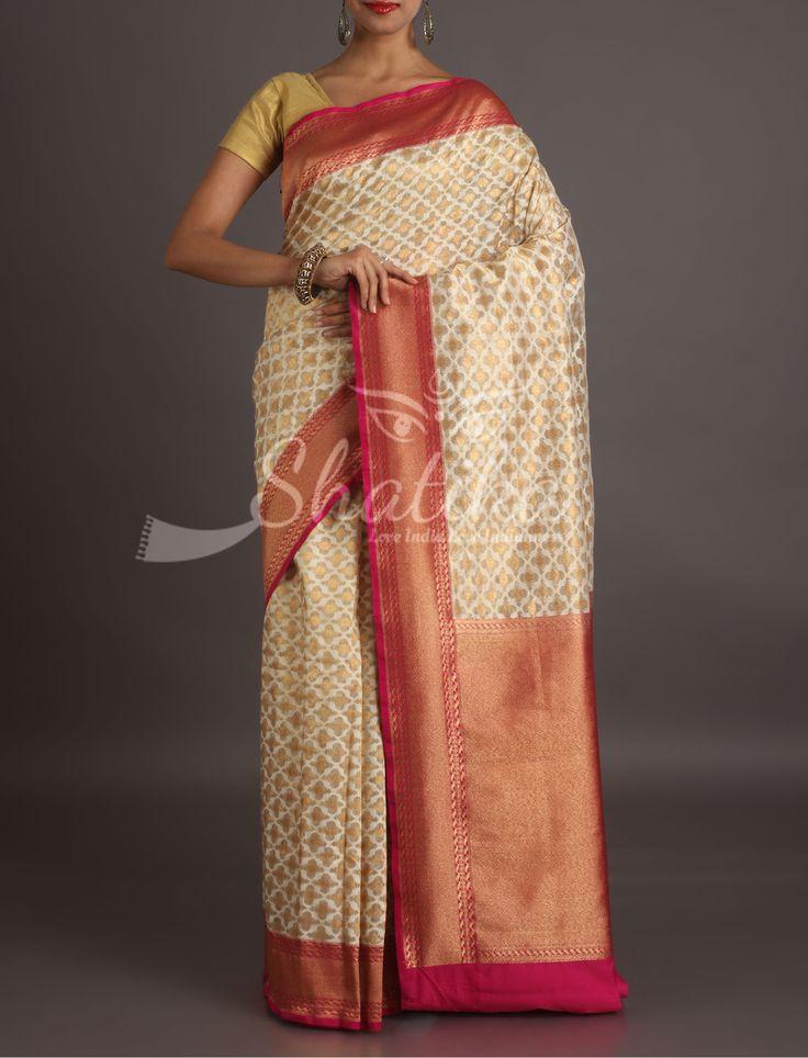 Shikha Dazzling Diamonds In Gold Elegant Banarasi Organza Silk Saree
