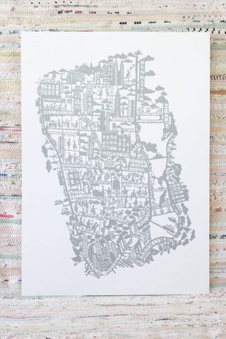 MAPPRINT BY FAMILLE SUMMERBELLE - NEW YORK SILVER, Mokkasin