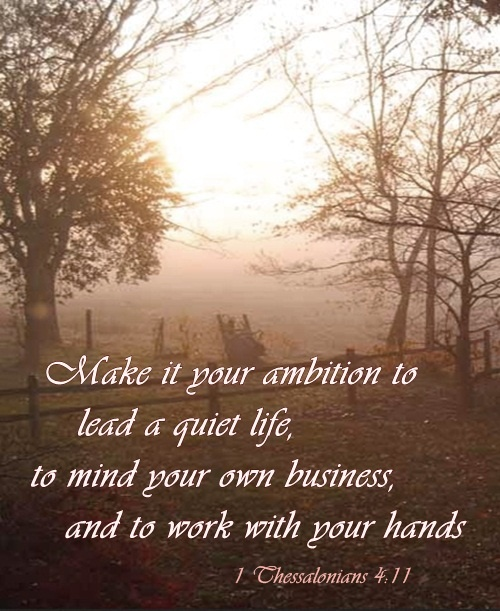 1 THESSALONIANS 4:11 ~ Make it your ambition.......