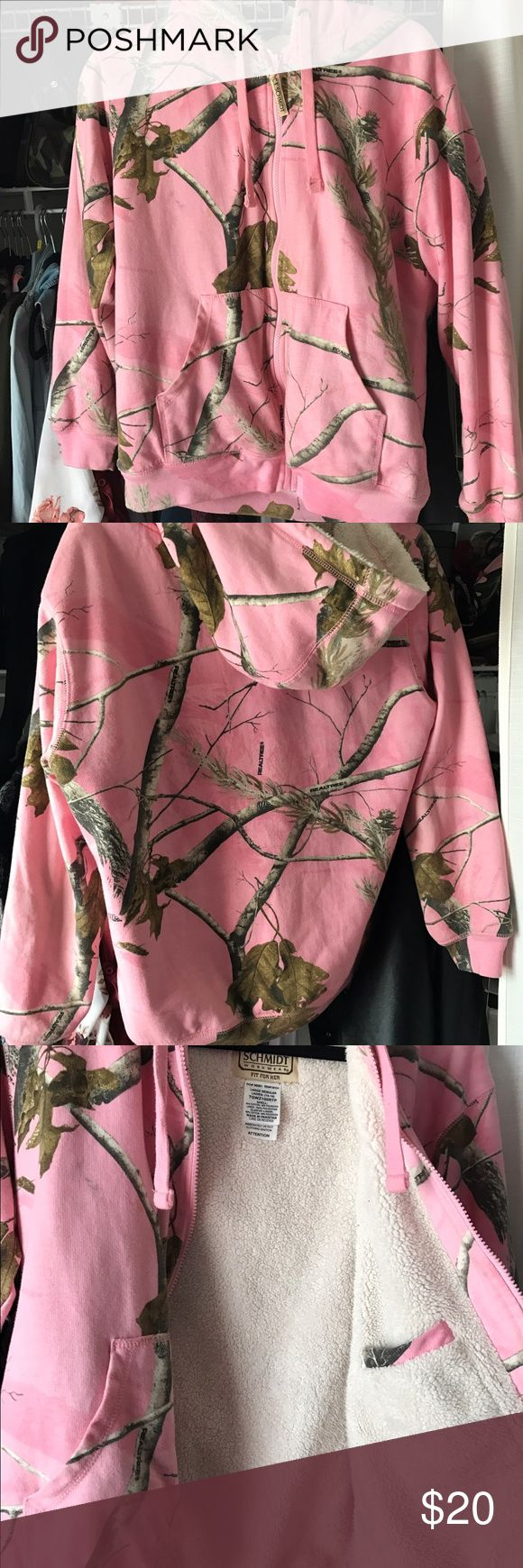 Pink camo jacket This jacket I bought I believe last winter but did get wear once this pass winter. Still in mint condition and really warm. It's a size large but a little short by the arms (but I also like my sleeves long) schmidt work wear  Jackets & Coats