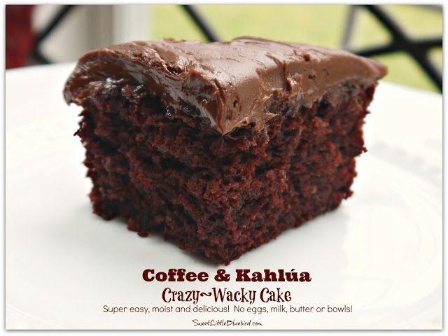 Coffee & Kahlúa Crazy/Wacky Cake! (no eggs, milk, butter or bowls) So simple. So good.