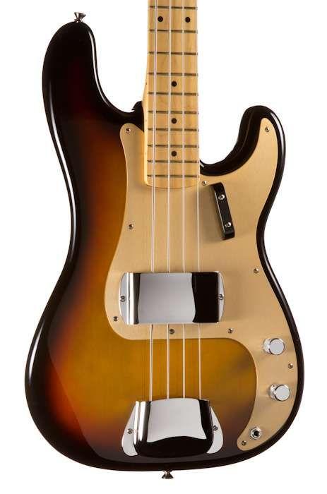 Fender American Vintage '58 Precision Bass, 3-Color Sunburst, Maple, 0191002800 - 4-String Bass Guitars - Bass