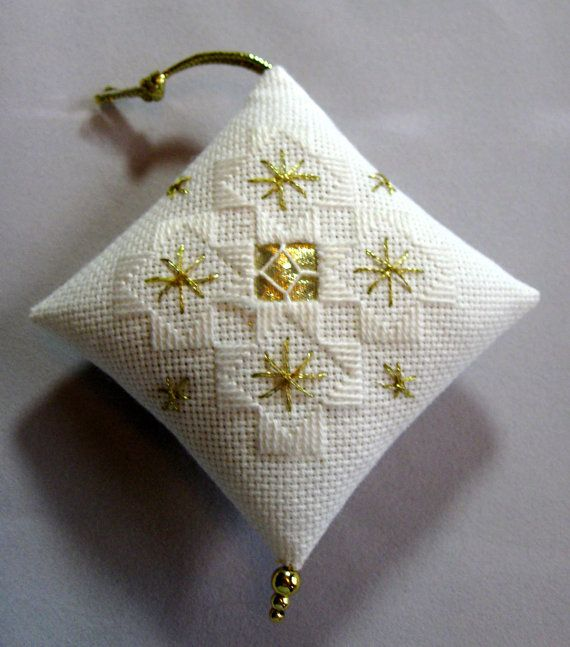 White and Gold Hardanger Christmas Ornament 205 by NoelBelles, $10.00