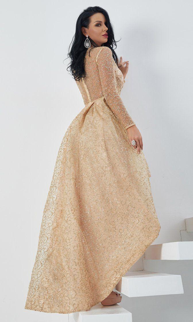 787b3a3681e Fall Romance Gold Sheer Mesh Glitter Swirl Pattern Long Sleeve Crew Neck  High Low Ball Gown Maxi Dress