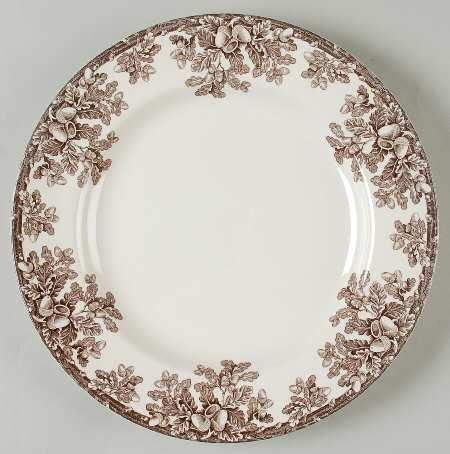Manor by SPODE, BROWN TRANSFERWARE,ACORN OAK LEAF BORDER-- This would be so beautiful on a Thanksgiving tabletop!