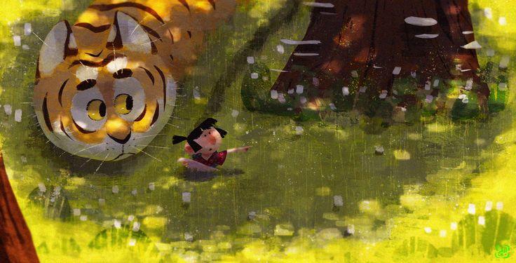 Tiger Friends, Gop Gap on ArtStation at https://www.artstation.com/artwork/WQzQX