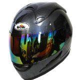Motorcycle Street Bike Fiber Carbon Black Full Face Adult Helmet   Bonus: One Clear Lens
