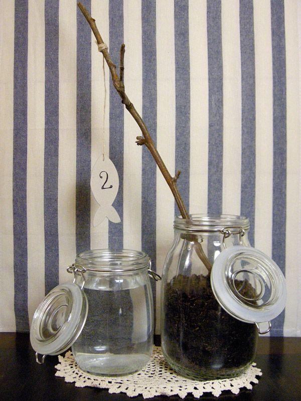DIY Fishing in a Jar wedding table numbers...