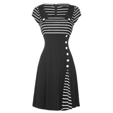 Voodoo Vixen New Womens Black White 50s 60s Flared Party Work Career Dress: Amazon.co.uk: Clothing