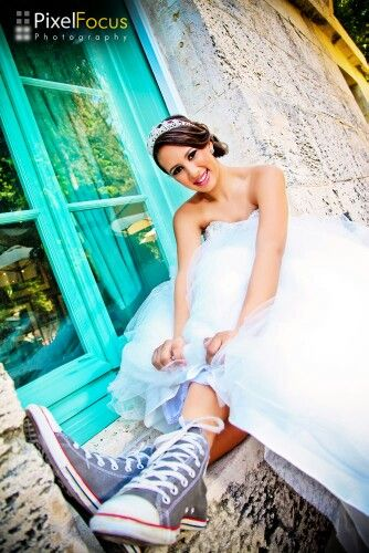 quinceanera photography- i love this idea because of the sneakers!