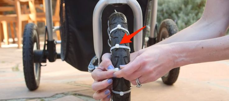 This Mom Attaches Zip Ties To The Front Wheel Of Stroller. The Reason Why? So Smart!