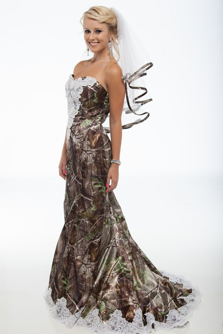 Realtree Camo A-Line Bridal Dress with Long Train Trimmed in Lace ...
