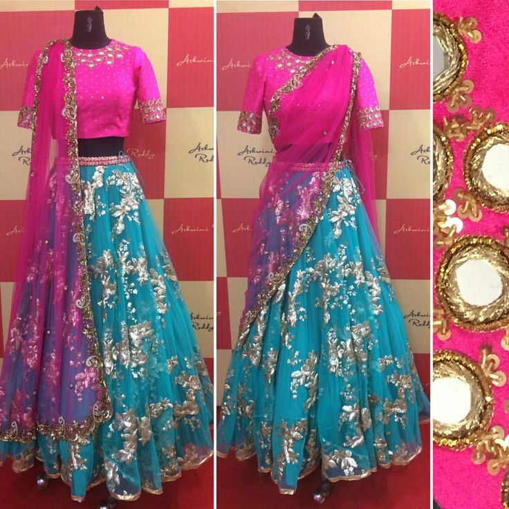 For an evening  traditional  occasion ..   pink  blue  mirrorwork  cutwork   indianwedding   arbride  ashwinireddy 29 August 2016