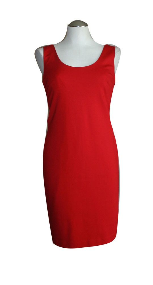 Anthropologie Cluny Dress 12 Red Sheath Cocktail Knee Length Sleeveless Rayon #Cluny #Sheath #Cocktail