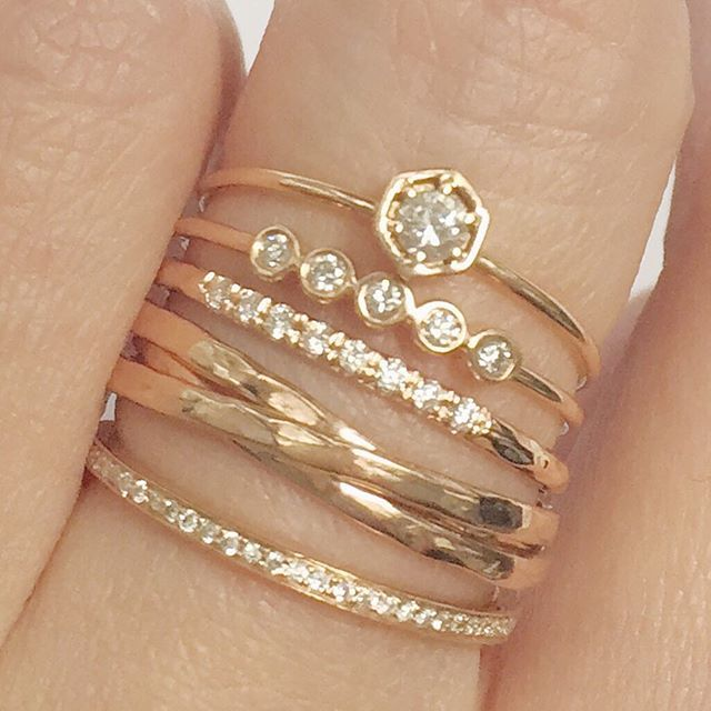 love stacked rings, mixed styles, can wear every day for some interesting sparkle
