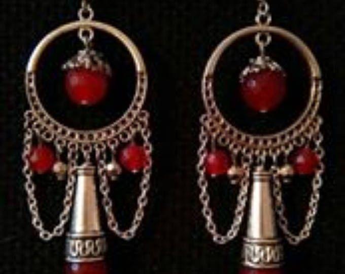 Stile etnico orecchini granato cristalli tribal fusion argento Lampadario boho