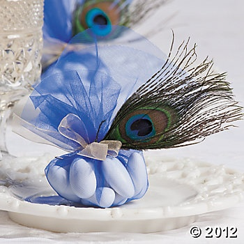 Blue Tulle w/ peacock feather accent Favors