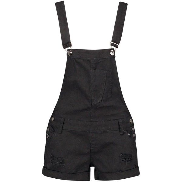 Boohoo Blue Tessa Black Denim Distressed Dungaree Shorts ($35) ❤ liked on Polyvore featuring shorts, bottoms, denim shorts, ripped denim shorts, micro denim shorts, short shorts and sequin shorts