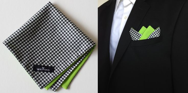 Polyester Black & White Gingham with lime green lining - Pocket Square (Double-sided)