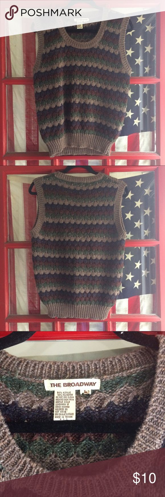 Striped Oxford Sweater Vest Very unique vintage sweater vest with scoop neckline and know material. Goes great with a yet long sleeve underneath. Says large but fits like a medium, size 6. American Vintage Sweaters