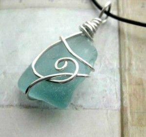 sea glass pendant - collect sea glass on the beach and the wire looks easy enough to do