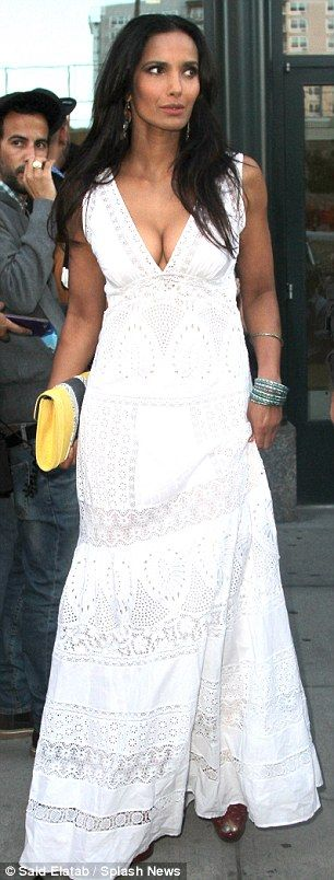 Bohemian beauty: Lakshmi stunned in a white flowing gown as she stepped out in Manhattan for her 45th birthday celebration