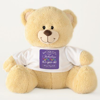 60th Birthday Most Fabulous Colorful Gems Purple Teddy Bear - #customizable create your own personalize diy