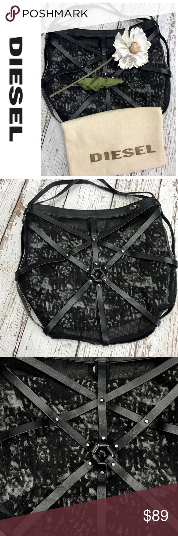 "SALENWOT Diesel Black Leather Tote Bag Gorgeous NWOT Diesel Black Leather Tote Bag 19"" W x 17"" H outside is leather Straps with a mesh inside is lined with Diesel embossed Material comes with dust bag purchased in New York for $389 never used Diesel Bags Totes"
