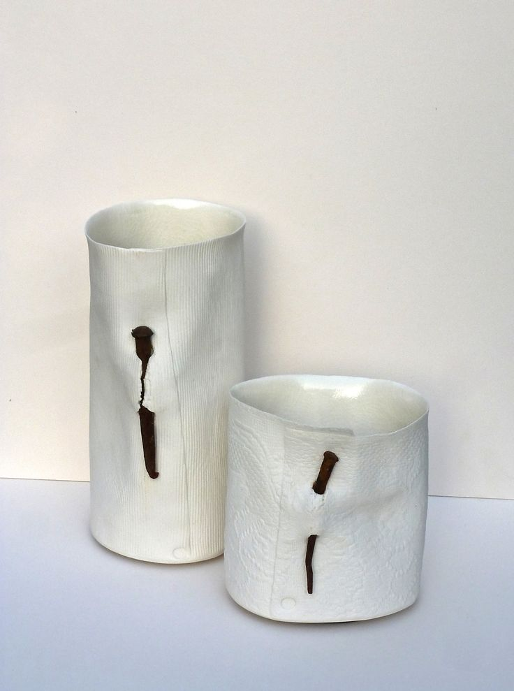 Nail Vessels: H. 25cm with corrugations and hand made nail. H.15cm with Nottingham Lace.