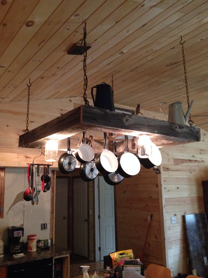 rustic light pot and pan rack over the kitchen island my husband made this