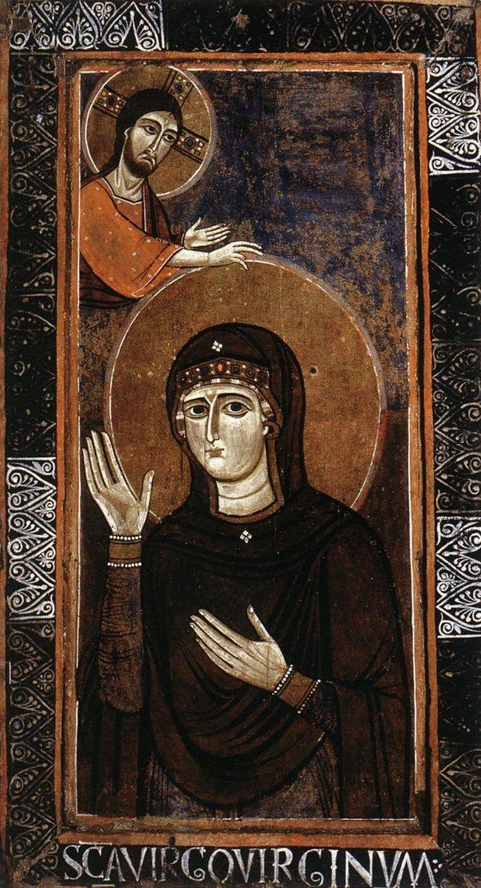 Maestro anonimo (attivo seconda metà del 12 ° sec. a Roma) - La Madonna come avvocato (Haghiosoritissa) - 1150 - Tempera su tavola ricoperta di tela - Galleria Nazionale d'Arte Antica, Roma