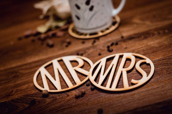 MR-MRS-Wooden Coaster for mug-laser cut-set-for couple-for tea or coffe cup-wedding-A002 & A003