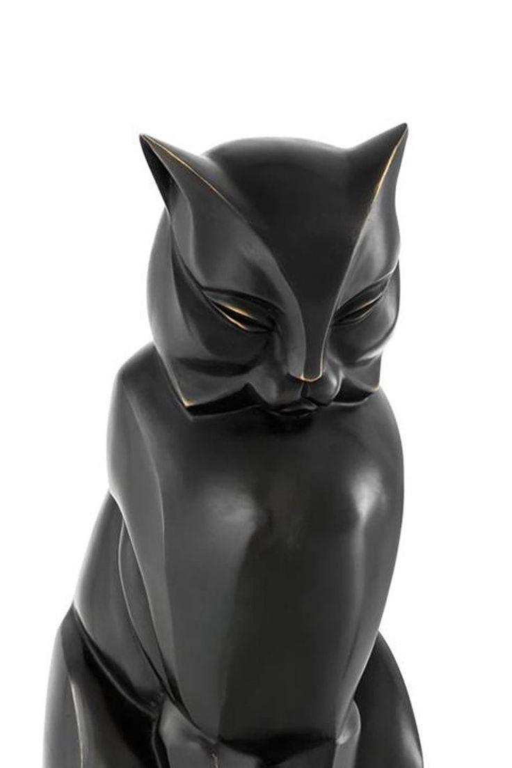 Cat Sculpture in Bronze Patina Style Art Deco 2