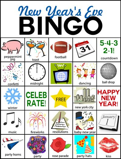 FREE New Years Eve BINGO cards with SIX different cards.  pluckymomo.blogspot.com