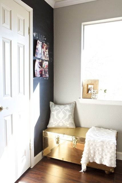 Use a storage trunk as seating in your small apartment.  Add a couple of flat pillows and you've upped the comfort level considerably!