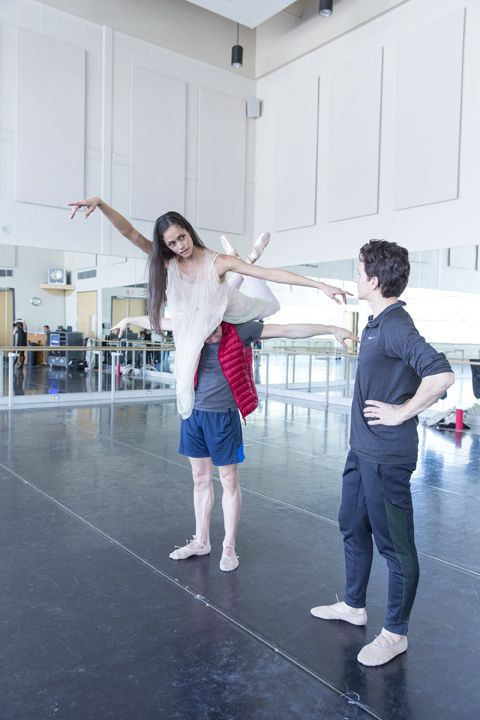 Tanya Howard lifted by Dylan Tedaldi in rehearsal for Le Petit Prince with Choreographer Guillaume Côté. Photo by Aleksander Antonijevic.