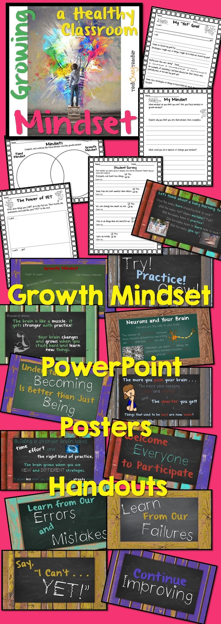 Growing a Healthy Classroom Mindset is designed to cover at least 20 days of instruction. Teachers introduce the basic knowledge concerning mindsets and brain research. They then present a growth mindset statement each day. Discuss the statement and what it means. As each statement is covered, add the accompanying poster to a bulletin board to create an inspiring display that can be referred to throughout the year. $